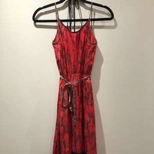 DIESEL open back red silky dress with straps